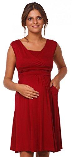Happy Mama Femme. Robe patineuse maternité d'allaitement. Sans manches. 500p Cramoisi