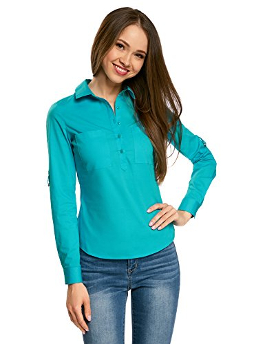 Oodji ultra donna camicia basic con tasche sul petto, turchese, it 42 / eu 38 / s