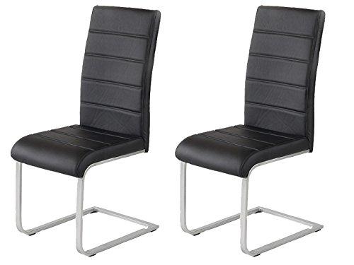 2 x Polsterstuhl Jan Piet ® mit hochwertigem PU Kunstleder schwarz NEU 120 kg belastbar Freischwinger Esszimmerstuhl. (Rückenlehne Gepolstert Schwarz Leder)