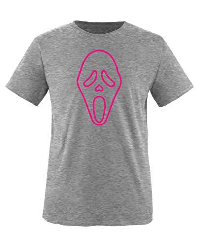Comedy Shirts - Halloween Maske - Mädchen T-Shirt - Graumeliert/Pink Gr. 122-128