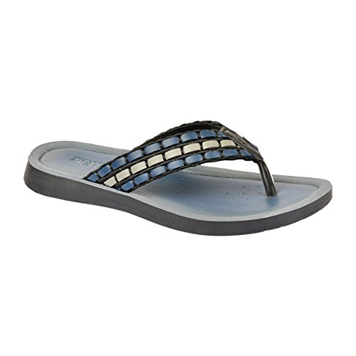 INBLU Low Heel Mens Sandal | Chappal Blue and Gray Colour for Formal and Casual use | Slipper Flat Design | Mens Footwear | Medium Washable Chappal for Rainy Days | Synthetic Leather Sandal for Gents
