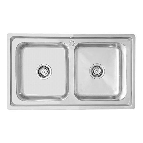 ENKI - Lavello a incasso - 2 vasche quadrate - acciaio inox