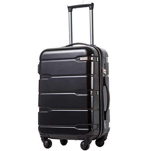 COOLIFE Koffer Reisekoffer Vergrößerbares Gepäck (Nur Großer Koffer Erweiterbar) PC + ABS Material mit TSA-Schloss und 4 Rollen(Schwarz, Mittelgroßer Koffer)