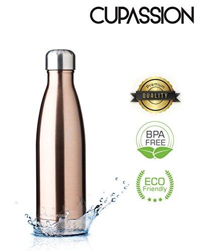 CUPASSION Evi Copper Metallic - Edelstahl Vakuum Isolierflasche 500ml | Trinkflasche Wasserflasche | hält Getränke 18h heiß & 24h kalt | Thermosflasche & Thermoskanne |