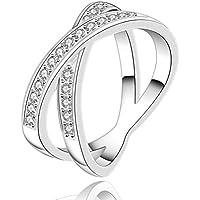 SunIfSnow donna elegante Fashion Cute con croce diamante rotondo Anello