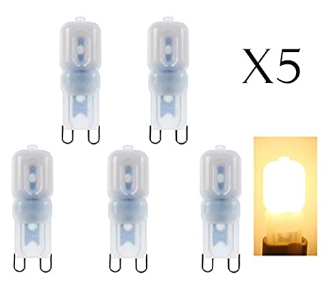 G9 3W dimmbar Led Lampen(5 Packungen) warmweiß , 2835 SMD Energiesparlampe. 250lm entspricht 20W Halogenbirne, 360° Abstrahlwinkel