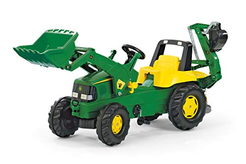 Rolly Toys Trettraktor rollyJunior John Deere, Kindertraktor mit Frontlader Schaufel, Heckbagger, Front- und Heckkupplung, geeignet für Kinder ab 3 Jahren, grün, 811076