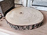 Large Natural Wood Log Slice Tree Bark Wedding Table Centerpiece Cake Stand (Medium 24-29cms)