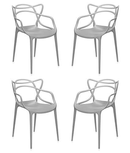 Totò Piccinni Sedie Starck style Moderne Design impilabile (L)54x(P)55x(A)82 cm (Grigio, 4)