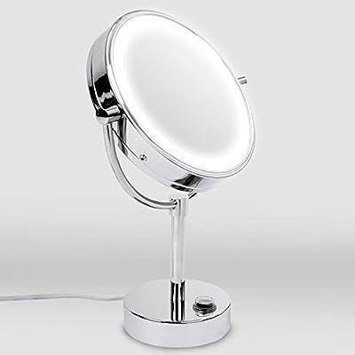 casa pura® Kosmetikspiegel mit LED Beleuchtung | 3 hohe Vergrößerungsgrade wählbar