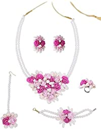 Floral Pink & White Pearl And Gota Patti Necklace Set With Mangtikka, Earrings, Ring And Bracelet