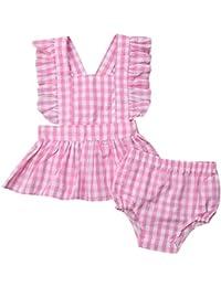 fa0682280d Luckycat Conjunto Primavera y Verano Ropa bebé 6 Meses - 3 años Bebe Niña  Camiseta Sin Mangas de Cuadros y Pantalones Cortos Florales…