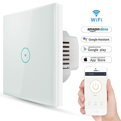 Smart Alexa lichtschalter, Wlan Wifi Smart lichtschalter arbeitet mit Amazon Alexa, Google Home, gehärtetes Glas Touchscreen-schalter mit Timerfunktion und Überlastungsschutz (1-Gang)