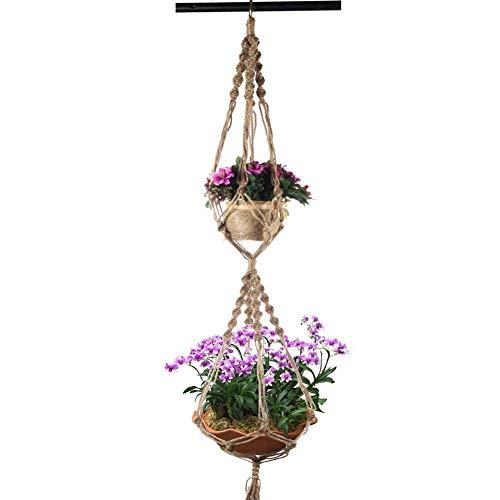 Hacoly Blumenampel Hängeampel 2 Schichten Makramee Pflanze Kleiderbügel Halter Halterung Innen- oder Außen hängender Blumentopf, Übertopf Korb Handgemacht, Buamwollseil, 4 Beine 120cm