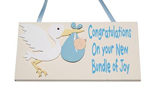 Baby Boy-Felicidades por tu nuevo paquete de alegría-pequeño bebé recién nacido-placa de madera hecho a