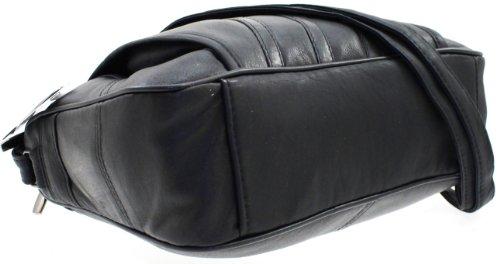 WOMENS DESIGNER GENUINE REAL LEATHER SHOULDER CROSS BODY HAND BAG BLACK