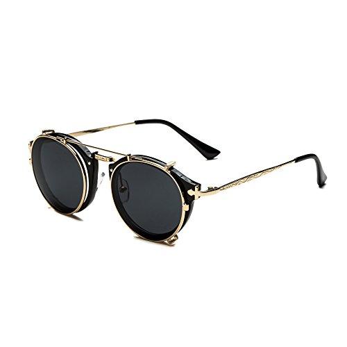 Dollger Flip Dual Dual-Objektiv Mode Sonnenbrillen Myopie gemacht werden können(Schwarz Linse+goldrahmen)