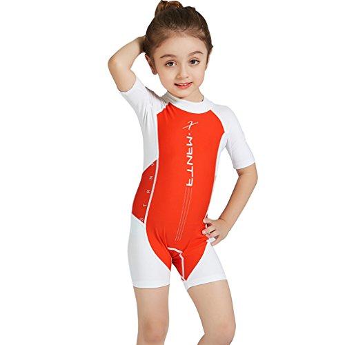 Shorty Bademode Badeanzug - Jungen Badebekleidung Einteiler Protection Solaire UV 56 Schwimmbekleidung für Mädchen mit Reissverschluss (Kinder Badeanzug Cover Up)