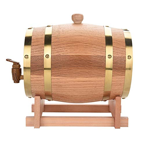 Barilotto Legno Botte di Vino, Dispenser per Botti di Vino in Legno Rovere Vintage per Whiskey Bourbon Tequila (3L)