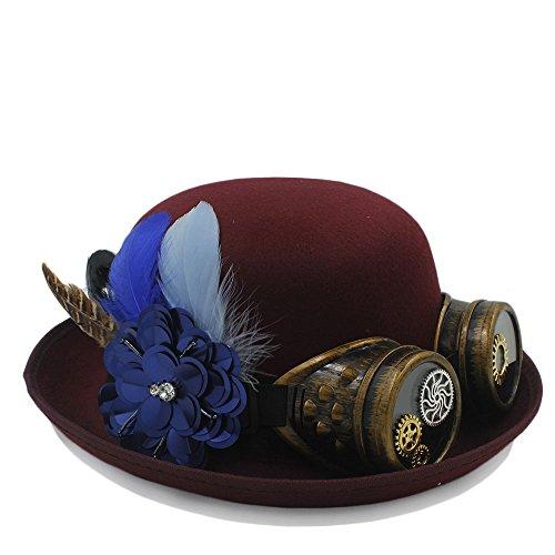 YINUO Gorras Steampunk Bowler Hat Lady Gear Glasses Gorras de Fiesta Cosplay (Color : Vino Rojo, tamaño : 56-58cm)