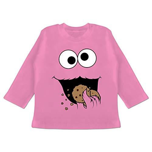 Kostüm Monster Cookie Pink - Karneval und Fasching Baby - Keks-Monster - 6-12 Monate - Pink - BZ11 - Baby T-Shirt Langarm