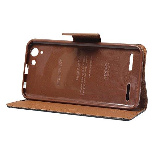 FUSON Premium Drop Protection Wallet Case Flip Cover for Lenovo Vibe K5 / Vibe K5 Plus ,(Black/Brown)