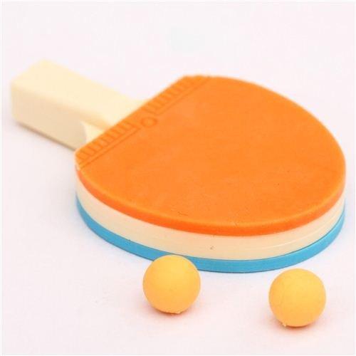 blau-orangener Tischtennis Schläger Radiergummi von Iwako aus Japan
