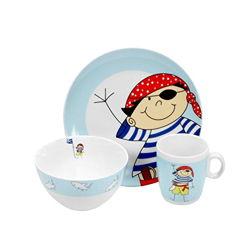 Retsch Arzberg Kindergeschirr 'Pirat', Porzellan, im Geschenkkarton, 3-teilig (1 Set)