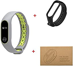 Impression A6 Bluetooth M2 Fitness Smart Band Combo of 2 Fitband Screen Protector with 1 Black Replaceable Belt for Android/iOS Devices (Gray/Green)