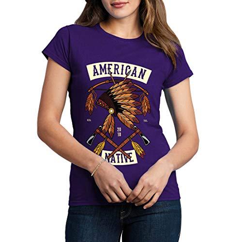 C303WCNTP Damen T-Shirt American Native American Indian Chief Spirit Warrior Axe Wild Free Bike Motorcycle Heritage Vintage Tattoo(XX-Large,Purple) American Heritage 8
