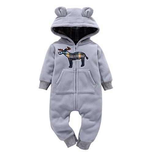 Baby Herbst & Winter Strampler Longra Baby Jungen Mädchen Schneeanzüge Fleece Overall mit Kapuze Unisex Baby Strampler Jumpsuit(0-24 Monate) (75CM 9Monate, Gray) -