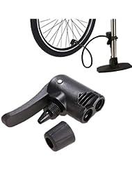 Vovotrade Bicicleta Doble Cabeza Bomba de Aire Adaptador Válvula, Bici Ciclismo Neumático Tubo Bombeo Acortar Abrazadera inflador Gorra Reemplazo Presta