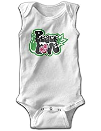 xcvgcxcvasda Peace Love Weed Baby Sleeveless Romper Bodysuit Jumpsuit Cotton Comfortable Cute Pattern