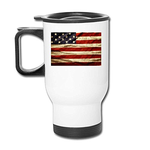 IcVcnRAL Unisex American Flag Day Casual Coffee Thermos Custom Car Travel Blank Mug Hip Hop Coffee Travel Mug