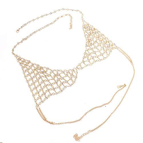 (Körper Kette Halskette für Frauen Strass Körper Kette Damen Neuheit Gold Legierung Dünne Kette Körperkette Bikini Sommer Yacht Beach Party Sexy Bikini Schmuck ( Farbe : Gold , Größe : Free size ))