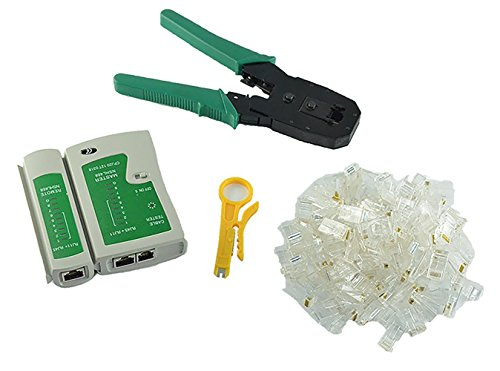 Cat5e Rj-45-crimp-anschlüsse (Racksoy - Cable Tester + Crimpzange Crimp-100 RJ45 CAT5 Cat5e Connector Stecker Werkzeug-Set)