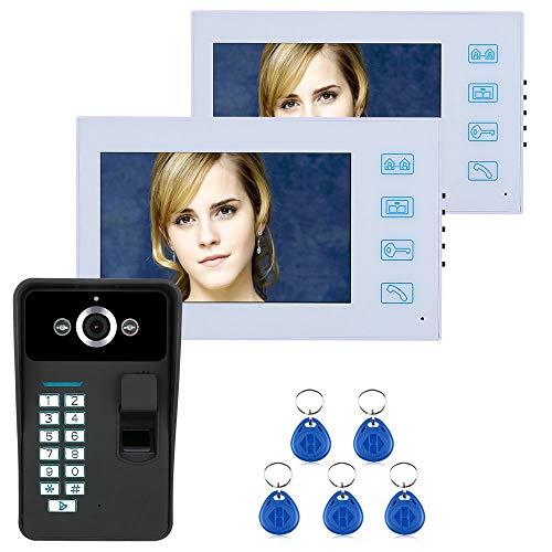 YUEC Sonnette vidéo, écran 7 Pouces 2 RFID Mot de Passe vidéo Sonnette Talkie-walkie avec caméra Infrarouge Système de contrôle d'accès de Ligne 1000 TV, Pluie HD