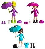 Mattel Polly Pocket X1212 - Regenspaß Set, 3 Puppen und viel Zubehör