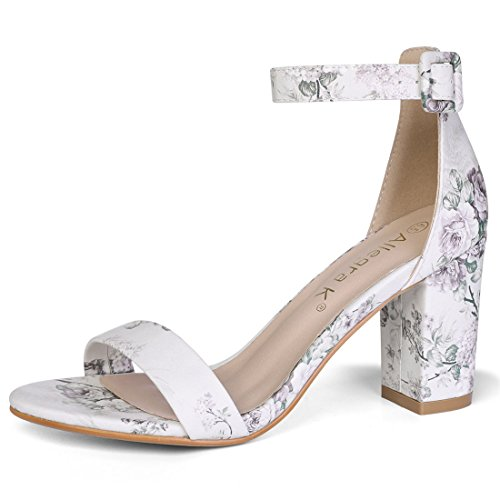 Allegra K Damen Peep Toe Print Strappy Sandale High Heels Hellgrau-Blumen 40 EU/Label Size 9.5 US -