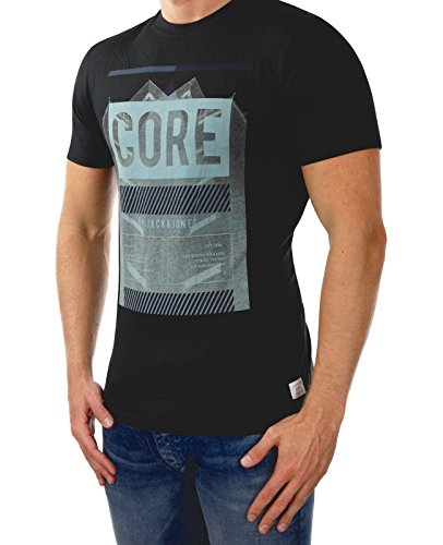 JACK & JONES Herren T-Shirt Jcowarm Tee Ss Crew Neck Schwarz (Black Fit:REG Detail:TRAIN)