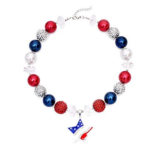 Amosfun USA amerikanische Flagge Schlüsselbein Kette patriotischen 4. Juli Halskette Unabhängigkeitstag Anhänger Schmuck für Kinder (Patriotische Partei Liefert)