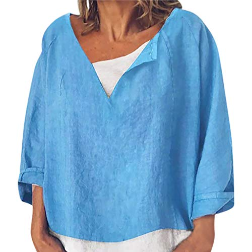 iYmitz 3/4-Arm Damen Streetwear Einfarbig Rundausschnitt Leinen Frauen Freizeit Bluse Sommer - Polo Mint Kostüm