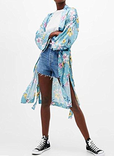 Futurino Damen Blumendruck Vorne Offen Taille mit Gürtel Kimono Cover Up Blau