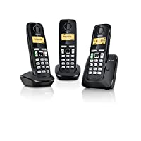 Gigaset A220 Trio Cordless Phone with 200 Hrs Standby, 50M Indoor-300M Outdoor Range, Internal-External Call Transfer, Speakerphone, 80 Contact Storage, Made in Germany, DECT, Black