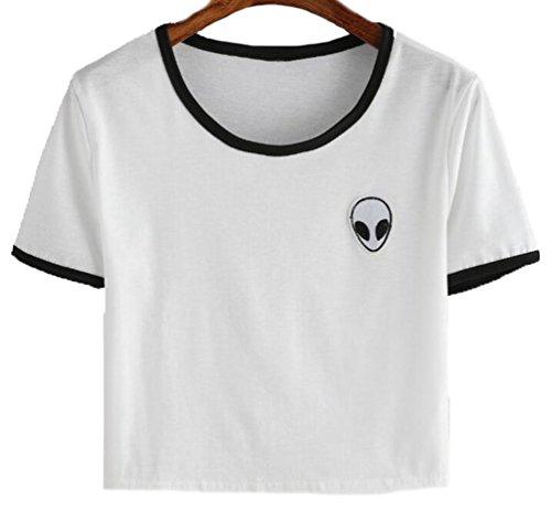 YouPue Damen T-Shirts Aliens Druck Kurzarm Crop Tops Sommer Weiß