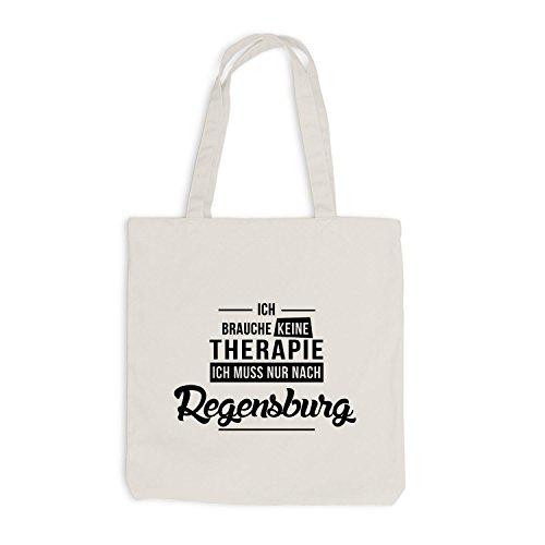 Jutebeutel - Ich Brauche Keine Therapie Regensburg - Urlaub Therapy Relax Beige