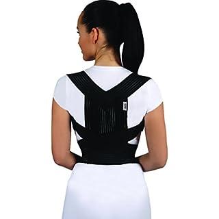 Armoline Posture Corrector Back Brace Support Shoulder Belt Adjustable Women Men (XL, Black)