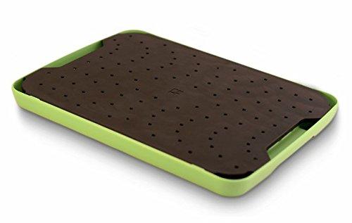 Simpleware Flow Juice Catching Cutting Board Slim Non Slip - Black/Green by Simpleware