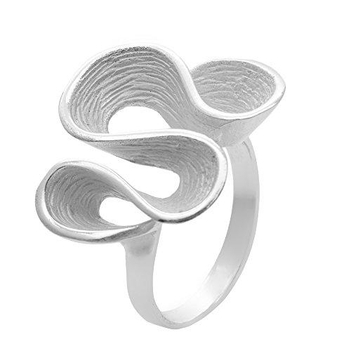 Silverly Frauen .925 Sterling Silber Satin Fertig Ripple wellenförmige Loop Curl Twist Plissee Ring -