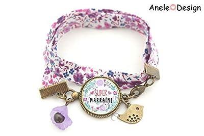 Bracelet marraine, Super marraine, violet vert, fleur violet, oiseau, cadeau marraine, liberty